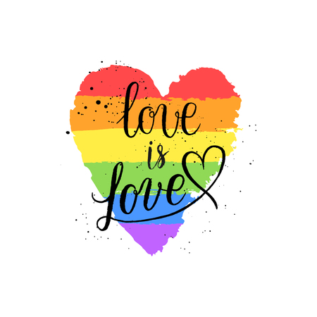 Illustration pour LGBT, gay and lesbian pride greeting cards, posters with spectrum hand drawn paint strokes, hearts, rainbow on Valentine's Day. Vector design elements with hand lettering isolated on white background. - image libre de droit