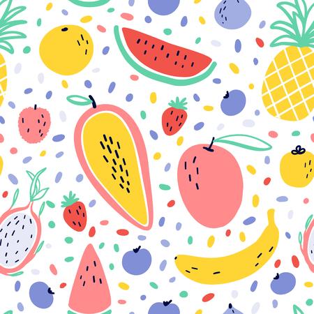 Ilustración de Vector tropical fruit background with pineapple, mango, watermelon, dragon fruit, Pitaya, banana, papaya. Summer exotic fruit seamless pattern with memphis style elements - Imagen libre de derechos