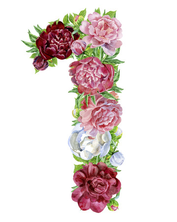 Photo for Number one of watercolor flowers, isolated hand drawn on a white background, wedding design, english alphabet - Royalty Free Image