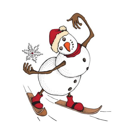 Illustration pour Funny Snowman skiing. Cute winter holiday. Character in a hat and knitted scarf catches a snowflake. Hand drawn doodle illustration isolated on white background. Merry Christmas and happy new year - image libre de droit