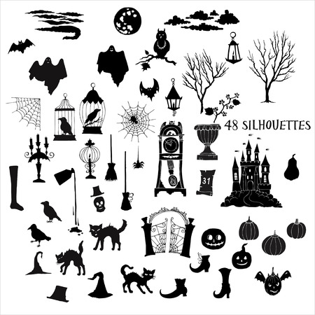 Illustrazione per Halloween silhouettes. Set of  hand drawn elements. Can be used for backgrounds and cards of Halloween decorations. Pumpkin, cat, ghost, hours, castle, moon, autumn. - Immagini Royalty Free