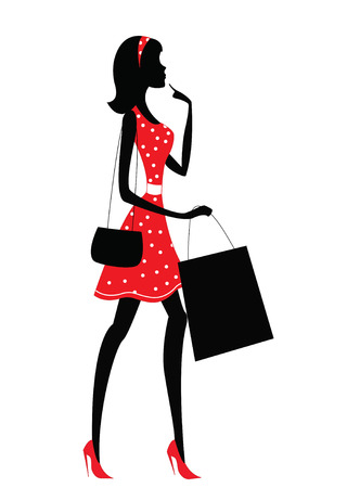 Photo pour Silhouette of a woman shopping. Retro style - image libre de droit