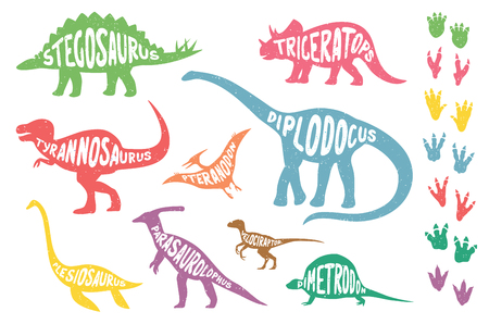 Ilustración de Set of colorful dinosaurs with lettering and footprints, isolated on wite background. Vector illustration. - Imagen libre de derechos