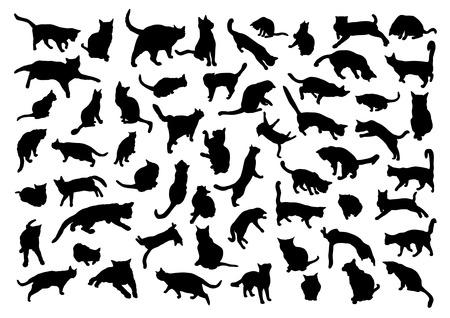 Ilustración de Silhouettes of cats - Imagen libre de derechos