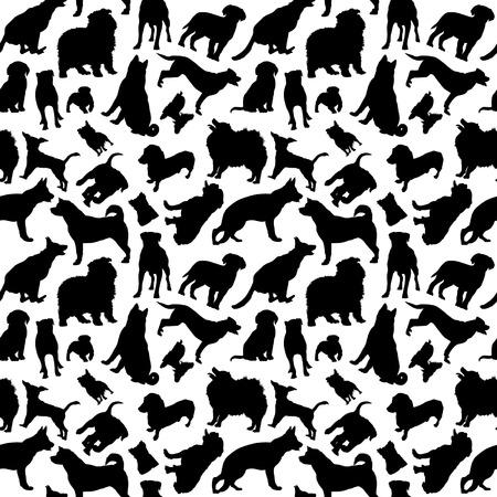 Ilustración de Dogs Silhouettes Seamless - Imagen libre de derechos