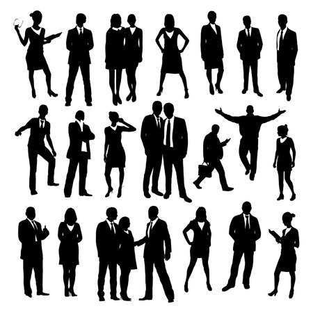 Photo pour Business people silhouettes set - image libre de droit