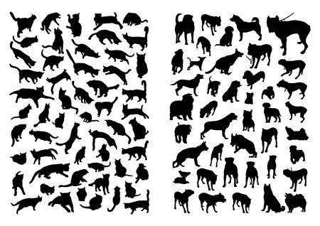 Cats and Dogs Silhouettes Set