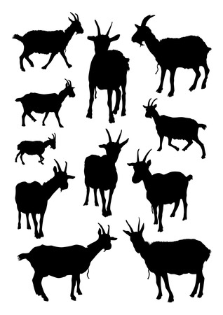 Illustration for Goats Silhouettes Set - Royalty Free Image