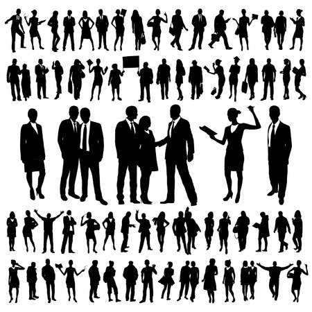 Illustrazione per People Silhouettes Set - Immagini Royalty Free