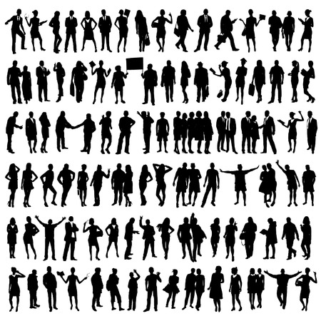 Photo pour People Silhouettes Set - image libre de droit