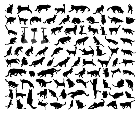 Illustrazione per 93 black isolated cat silhouette set - Immagini Royalty Free