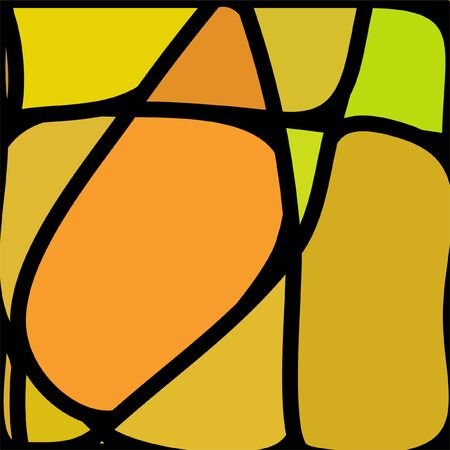 Ilustración de Stained Glass Window with abstract shapes and colorful glass inserts. - Imagen libre de derechos