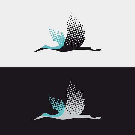 Illustration pour Flying bird stork - image libre de droit