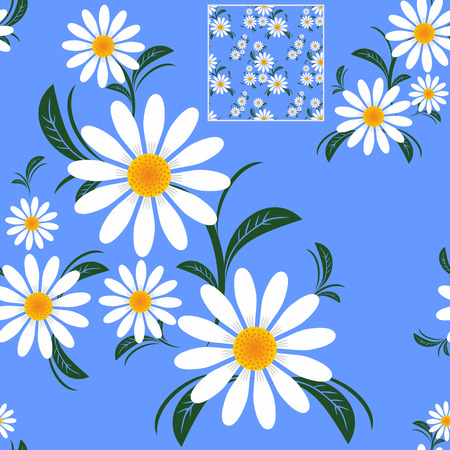 Illustration pour Flower seamless Pattern with Camomiles on blue.  - image libre de droit