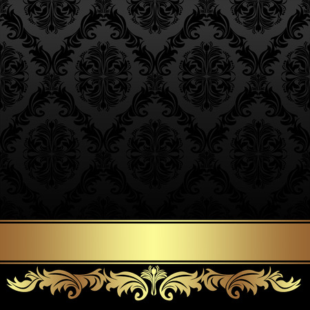 Illustration pour Ornate charcoal damask Background with golden Ribbon. - image libre de droit