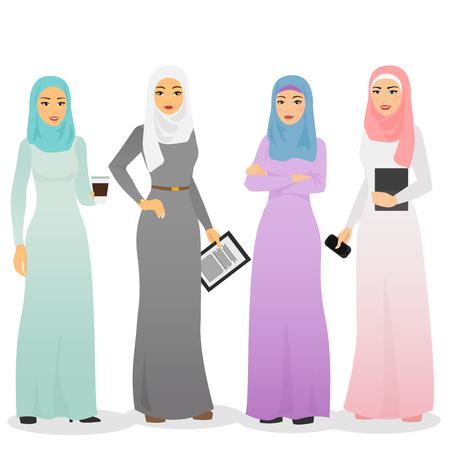 Illustration pour Vector illustration set of business arab women characters with hijab. Muslim female people. - image libre de droit