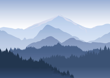 Illustration pour Vector illustration of the pine trees forest receding into the distance on the background of light blue mountains in thick fog. - image libre de droit