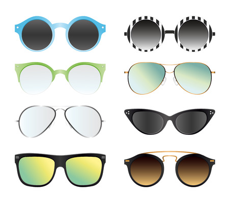 Illustration for Vector illustration set of sunglasses isolated on white color background. Different summer sunglasses, in trendy and vintage shapes, different 80th and 90th style. - Royalty Free Image