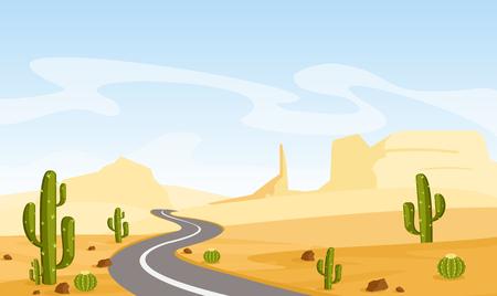 Illustration pour Vector illustration of desert landscape with cactuses and asphalt road, in cartoon flat style. - image libre de droit