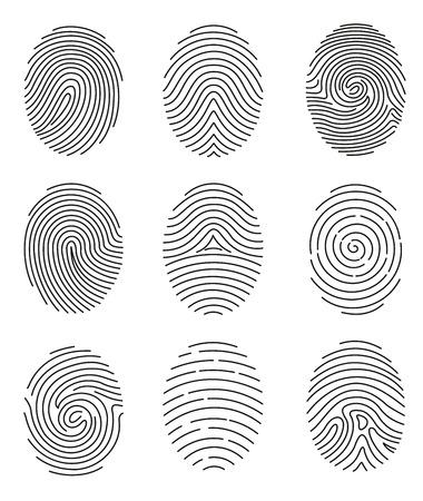 Ilustración de A Vector illustration set of different shape fingerprint in line style on white background. - Imagen libre de derechos