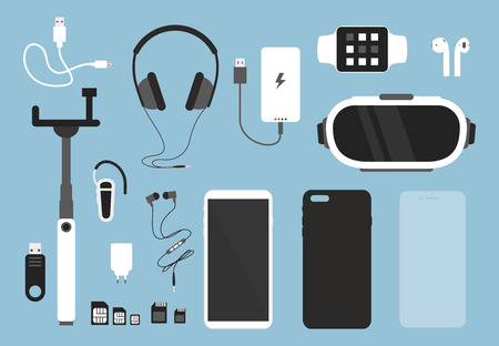 Illustration pour Vector illustration set of smartphone and accessories for it. Phone with case, charger, headphones and protective glass, cover and other things for smartphone in flat cartoon style - image libre de droit