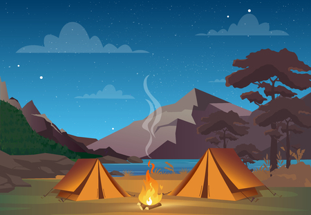 Ilustración de Vector illustration of camping in night time with beautiful view on mountains. Family camping evening time. Tent, fire, forest and rocky mountains background, night sky with clouds - Imagen libre de derechos