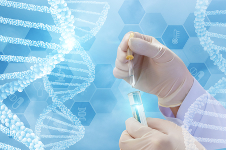 Foto de Testing of DNA molecules on a blue background. - Imagen libre de derechos