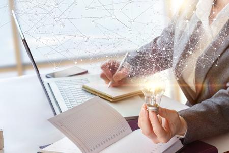Photo pour Concept Ideas during the preparation of the business plan. - image libre de droit