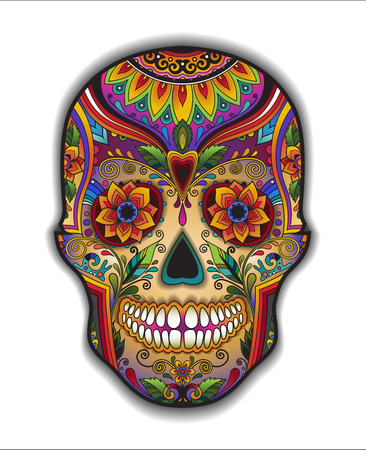Illustration for Print mexican traditional skull for T-shirt with floral ornament - Royalty Free Image