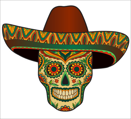 Illustration for Traditional mexican skull with sombrero. Vector skull in mexican hat. Mexican ornament - Royalty Free Image