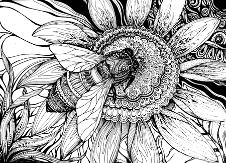 Ilustración de Beautiful vector background with graphic bee on flower with a lot of details - Imagen libre de derechos