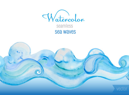 Ilustración de Vector watercolor background. Horizontal  seamless vector pattern of sea waves. - Imagen libre de derechos
