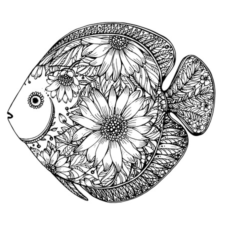 Photo for Hand drawn fish with floral elements in black and white style - Royalty Free Image