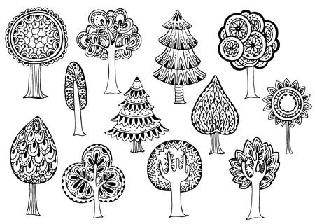 Illustration pour Hand drawn set of vector trees in doodle style - image libre de droit