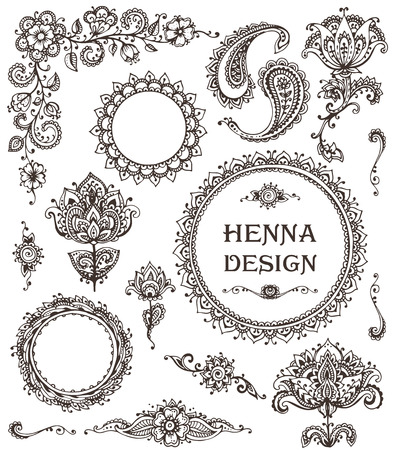 Illustration pour Vector Set of henna floral elements based on traditional Asian ornaments. Paisley Mehndi Tattoo Doodles collecton - image libre de droit