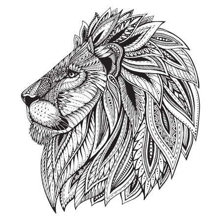 Ilustración de Ethnic patterned ornate  head of Lion. Black and white doodle illustration. Sketch for tattoo, poster, print or t-shirt. - Imagen libre de derechos