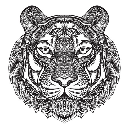 Illustration for Hand drawn graphic ornate tiger with ethnic floral doodle pattern.Vector illustration for coloring book, tattoo, print on t-shirt, bag. Isolated on a white background. - Royalty Free Image