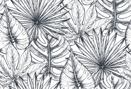 Illustration pour Vector seamless pattern with compositions of hand drawn tropical flowers, palm leaves, jungle plants, paradise bouquet. Beautiful black and white sketched floral endless background - image libre de droit