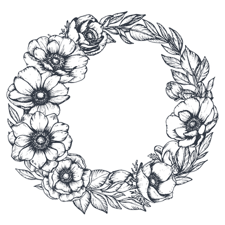 Illustration pour Vector black and white floral wreath of hand drawn anemone flowers - image libre de droit