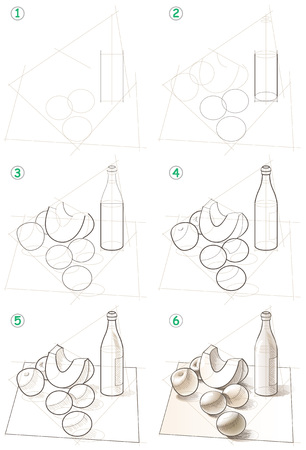 Illustration pour Page shows how to learn step by step to draw a still life. - image libre de droit