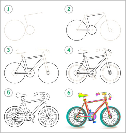 Illustration pour Page shows how to learn step by step to draw a toy bike. - image libre de droit