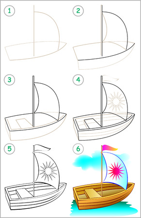 Illustration pour Page show how to learn step by step to draw a boat. Developing children's skills for drawing and coloring. Vector image. - image libre de droit