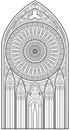Ilustración de Page with black and white drawing of beautiful medieval Gothic window with stained glass and rose for coloring. Worksheet for children and adults. Vector image. - Imagen libre de derechos