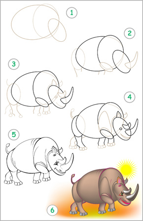Illustration pour Page shows how to learn step by step to draw a rhinoceros. - image libre de droit