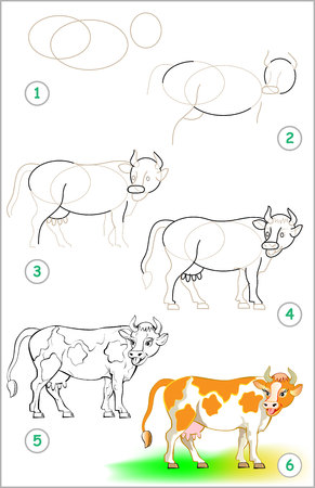 Illustration pour Page shows how to learn step by step to draw a cow. - image libre de droit