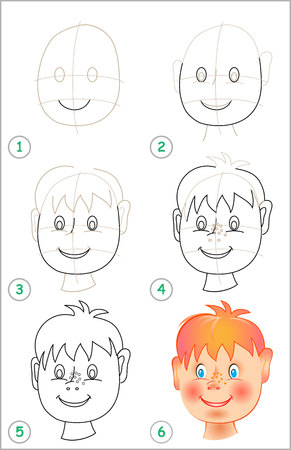 Illustration pour Page shows how to learn step by step to draw a head. - image libre de droit