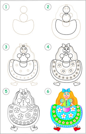 Illustration pour Page show how to learn step by step to draw a doll. - image libre de droit