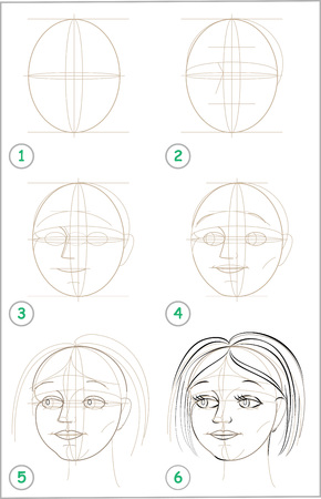 Illustration pour Page shows how to learn step by step to draw girls head. - image libre de droit
