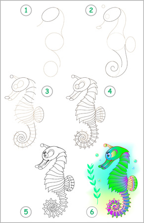 Illustration pour Page shows how to learn step by step to draw a seahorse. - image libre de droit