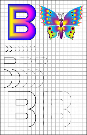 Ilustración de Educational page with alphabet letter B on a square paper. Developing skills for writing and drawing. Vector image. - Imagen libre de derechos